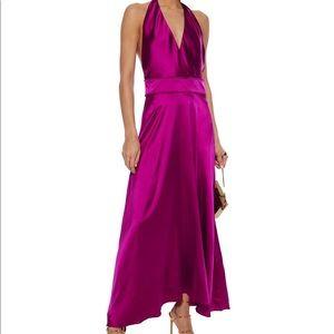 Maje NWT! Silk RIvone Halter Dress in Magenta sz 1